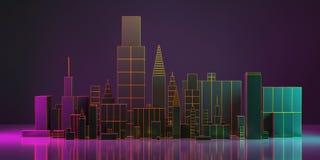 τρισδιάστατη απεικόνιση Σχεδιάγραμμα πόλεων νύχτας με την πυράκτωση νέου και τα ζωηρά χρώματα ελεύθερη απεικόνιση δικαιώματος