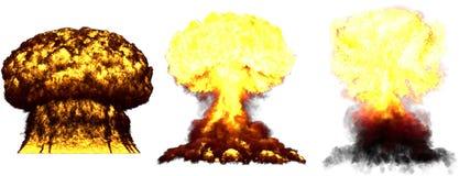 τρισδιάστατη απεικόνιση της έκρηξης - έκρηξη ατομικών μανιταριών 3 τεράστια πολύ υψηλή λεπτομερής διαφορετική φάσεων της βόμβας υ διανυσματική απεικόνιση