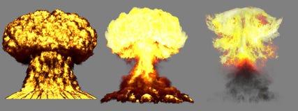 τρισδιάστατη απεικόνιση της έκρηξης - έκρηξη ατομικών μανιταριών 3 μεγάλη πολύ ιδιαίτερα λεπτομερής διαφορετική φάσεων της πυρηνι διανυσματική απεικόνιση