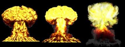 τρισδιάστατη απεικόνιση της έκρηξης - έκρηξη ατομικών μανιταριών 3 μεγάλη πολύ υψηλή λεπτομερής διαφορετική φάσεων της θερμοπυρην απεικόνιση αποθεμάτων