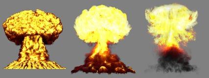 τρισδιάστατη απεικόνιση της έκρηξης - έκρηξη ατομικών μανιταριών 3 μεγάλη πολύ ιδιαίτερα λεπτομερής διαφορετική φάσεων της θερμοπ απεικόνιση αποθεμάτων