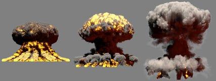 τρισδιάστατη απεικόνιση της έκρηξης - 3 μεγάλες διαφορετικές φάσεις βάζουν φωτιά στην έκρηξη ατομικών μανιταριών της πυρηνικής βό ελεύθερη απεικόνιση δικαιώματος