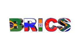 τρισδιάστατη απεικόνιση της ένωσης BRICS που απομονώνεται σε ένα άσπρο υπόβαθρο ελεύθερη απεικόνιση δικαιώματος