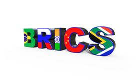 τρισδιάστατη απεικόνιση της ένωσης BRICS διανυσματική απεικόνιση