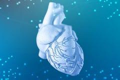 τρισδιάστατη απεικόνιση της ανθρώπινης καρδιάς στο φουτουριστικό μπλε υπόβαθρο Ψηφιακές τεχνολογίες στην ιατρική στοκ εικόνες