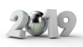 τρισδιάστατη απεικόνιση της ημερομηνίας του 2019, με μια σφαίρα ποδοσφαίρου Η ιδέα για το ημερολόγιο, τρισδιάστατη απόδοση του Πα διανυσματική απεικόνιση