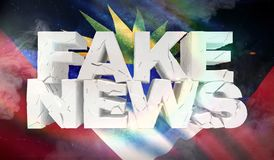 τρισδιάστατη απεικόνιση της πλαστής έννοιας ειδήσεων με τη σημαία υποβάθρου της Αντίγκουα και της Μπαρμπούντα απεικόνιση αποθεμάτων
