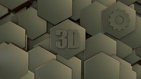 τρισδιάστατη απεικόνιση του αφηρημένου φουτουριστικού υποβάθρου από πολλά διαφορετικά hexagons, της κυψελωτής πέτρας με τις γρατσ ελεύθερη απεικόνιση δικαιώματος