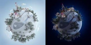 τρισδιάστατη απεικόνιση του πλανήτη Χριστουγέννων με το χριστουγεννιάτικο δέντρο και των χριστουγεννιάτικων δώρων κοντά στον παγω στοκ εικόνες