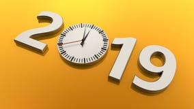 τρισδιάστατη απεικόνιση του 2019 σε ένα χρυσό υπόβαθρο Τα ασημένια μηχανικά ρολόγια μιλούν για την αξία του χρόνου, του transienc απεικόνιση αποθεμάτων