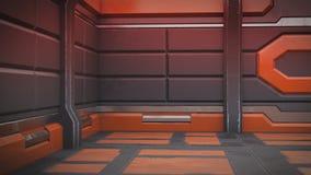 τρισδιάστατη απεικόνιση του φουτουριστικού εσωτερικού διαστημοπλοίων σχεδίου απεικόνιση απεικόνιση αποθεμάτων