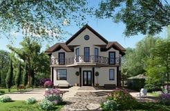 τρισδιάστατη απεικόνιση Το σπίτι είναι στο υπόβαθρο ενός όμορφου στοκ εικόνα με δικαίωμα ελεύθερης χρήσης