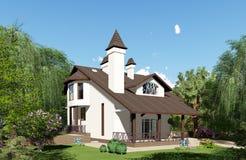 τρισδιάστατη απεικόνιση Το σπίτι είναι στο υπόβαθρο ενός όμορφου στοκ φωτογραφία με δικαίωμα ελεύθερης χρήσης