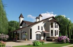 τρισδιάστατη απεικόνιση Το σπίτι είναι στο υπόβαθρο ενός όμορφου στοκ εικόνα
