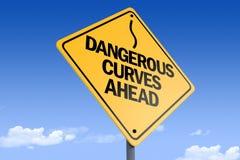τρισδιάστατη απεικόνιση των _dangerous καμπυλών ahead_angle3 οδικών σημαδιών στοκ φωτογραφίες