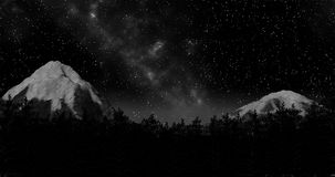 Τρισδιάστατη απεικόνιση χειμερινού η δασική ουρανού νύχτας και υποβάθρου βουνών δίνει Στοκ Εικόνες