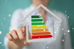 Τρισδιάστατη απόδοση έννοιας σπιτιών eco επιχειρηματιών Στοκ εικόνα με δικαίωμα ελεύθερης χρήσης