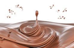 Τρισδιάστατη απόδοση απεικόνισης παφλασμών απομονωμένη σοκολάτα στοκ φωτογραφίες με δικαίωμα ελεύθερης χρήσης
