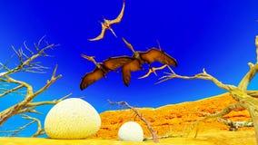 Τρισδιάστατη απόδοση αυγών και pterodactyl Στοκ φωτογραφία με δικαίωμα ελεύθερης χρήσης