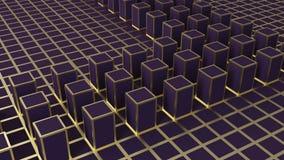 τρισδιάστατη απόδοση Αφηρημένος χρυσός τετραγωνικός φραγμός μορφής στο σκοτεινό κύβο χρώματος Στοκ Φωτογραφίες