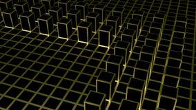 τρισδιάστατη απόδοση Αφηρημένος χρυσός τετραγωνικός φραγμός μορφής στο σκοτεινό υπόβαθρο κιβωτίων κύβων χρώματος Στοκ φωτογραφία με δικαίωμα ελεύθερης χρήσης