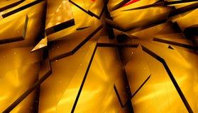 τρισδιάστατη απόδοση Αφηρημένο χρυσό υπόβαθρο των τριγώνων Στοκ Εικόνες