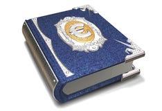 τρισδιάστατη απόδοση ενός βιβλίου με ένα ευρο- σημάδι νομίσματος διανυσματική απεικόνιση