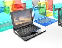 τρισδιάστατη απόδοση ενός σκοτεινού lap-top σε ένα υπόβαθρο των πολύχρωμων lap-top απεικόνιση αποθεμάτων