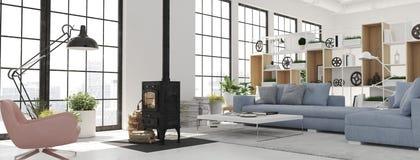 τρισδιάστατη απόδοση καθιστικό με την εστία χυτοσιδήρου στο σύγχρονο διαμέρισμα σοφιτών στοκ εικόνα