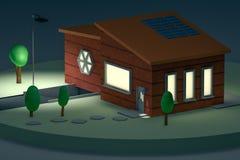 τρισδιάστατη απόδοση, μίνι σπίτι τη νύχτα διανυσματική απεικόνιση