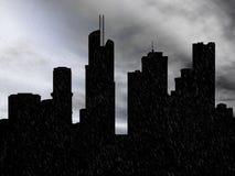 τρισδιάστατη απόδοση μιας εικονικής παράστασης πόλης στη βροχή στοκ εικόνα