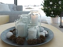 τρισδιάστατη απόδοση σπίτι με το christmastree στο σύγχρονο διαμέρισμα 1 εμφάνισης Στοκ Εικόνες