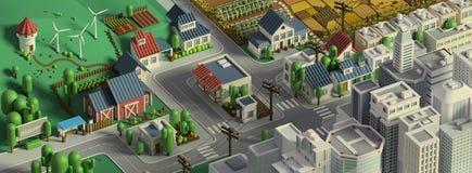 τρισδιάστατη απόδοση της χαμηλής πολυ isometric πόλης Τοπίο κινούμενων σχεδίων διανυσματική απεικόνιση