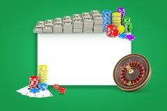 τρισδιάστατη απόδοση του άσπρου ορθογωνίου με τις δέσμες των δολαρίων, τους σωρούς των τσιπ, τη ρουλέτα και το πακέτο των καρτών  διανυσματική απεικόνιση