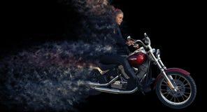 τρισδιάστατη απόδοση του αναβάτη κοριτσιών στη μοτοσικλέτα διανυσματική απεικόνιση