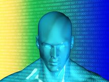 τρισδιάστατη απόδοση του ανθρώπινου κεφαλιού με το δυαδικό κώδικα Στοκ εικόνες με δικαίωμα ελεύθερης χρήσης