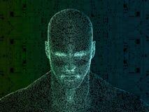 τρισδιάστατη απόδοση του ανθρώπινου κεφαλιού με το κύκλωμα Στοκ Εικόνα
