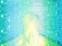 τρισδιάστατη απόδοση του ανθρώπινου κεφαλιού με το κύκλωμα Στοκ Εικόνες