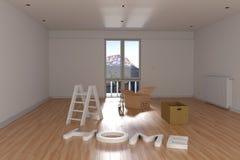 τρισδιάστατη απόδοση του επανεντοπισμού Κενό δωμάτιο με το κουτί από χαρτόνι και το Λα Στοκ Φωτογραφία
