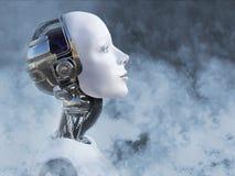 τρισδιάστατη απόδοση του θηλυκού κεφαλιού ρομπότ που περιβάλλεται από τον καπνό ελεύθερη απεικόνιση δικαιώματος