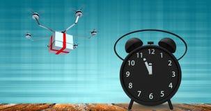 τρισδιάστατη απόδοση του ξυπνητηριού με τα μικρά πρακτικά σε δώδεκα ο ` cloc Στοκ Εικόνες