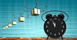 τρισδιάστατη απόδοση του ξυπνητηριού με τα μικρά πρακτικά σε δώδεκα ο ` cloc Στοκ φωτογραφία με δικαίωμα ελεύθερης χρήσης