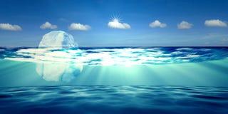τρισδιάστατη απόδοση του παγόβουνου με το συμπαθητικό ουρανό υποβάθρου Στοκ Φωτογραφίες