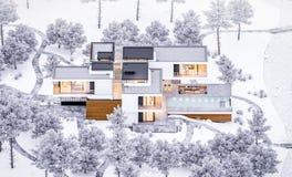 τρισδιάστατη απόδοση του σύγχρονου άνετου σπιτιού από τον ποταμό με το γκαράζ Δροσερό χειμερινό βράδυ με το άνετο θερμό φως από τ στοκ φωτογραφίες με δικαίωμα ελεύθερης χρήσης