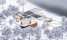 τρισδιάστατη απόδοση του σύγχρονου άνετου σπιτιού από τον ποταμό με το γκαράζ Δροσερό χειμερινό βράδυ με το άνετο θερμό φως από τ στοκ εικόνα