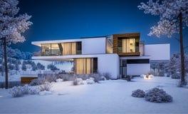 τρισδιάστατη απόδοση του σύγχρονου σπιτιού από τον ποταμό το χειμώνα Απεικόνιση αποθεμάτων