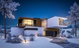 τρισδιάστατη απόδοση του σύγχρονου σπιτιού από τον ποταμό το χειμώνα Ελεύθερη απεικόνιση δικαιώματος
