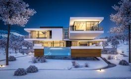 τρισδιάστατη απόδοση του σύγχρονου σπιτιού από τον ποταμό το χειμώνα Διανυσματική απεικόνιση