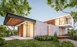 τρισδιάστατη απόδοση του σύγχρονου σπιτιού στο λόφο με τη λίμνη το βράδυ διανυσματική απεικόνιση
