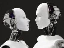 τρισδιάστατη απόδοση των κεφαλιών ενός θηλυκού και αρσενικού ρομπότ Στοκ Εικόνες